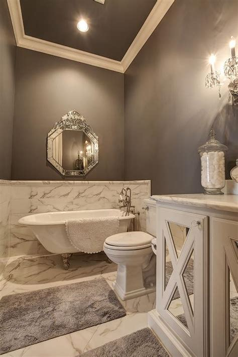 Grey Wainscoting by Master Bathroom With Marble Wainscoting Transitional