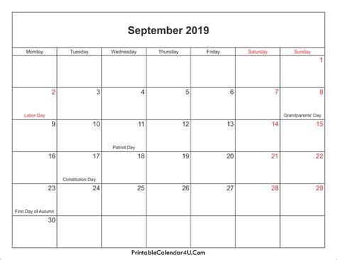 september  calendar canada calendar year printable