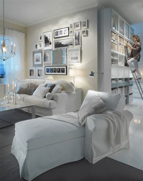 White Couches In Living Room Glamorous Cozy Ikea Ektorp Slipcover Sofa And Chaise Yes You Can White Furniture With