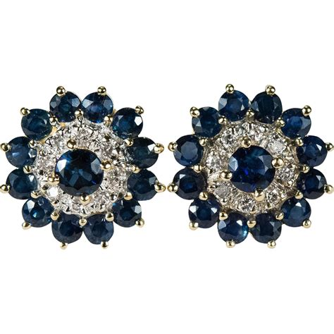 Flower Studs sapphire flower stud earrings 585 14k gold pierced