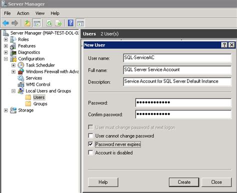 create account set sql server service accounts the right join
