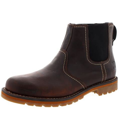 mens leather chelsea boots uk mens timberland larchmont leather winter snow brown pull