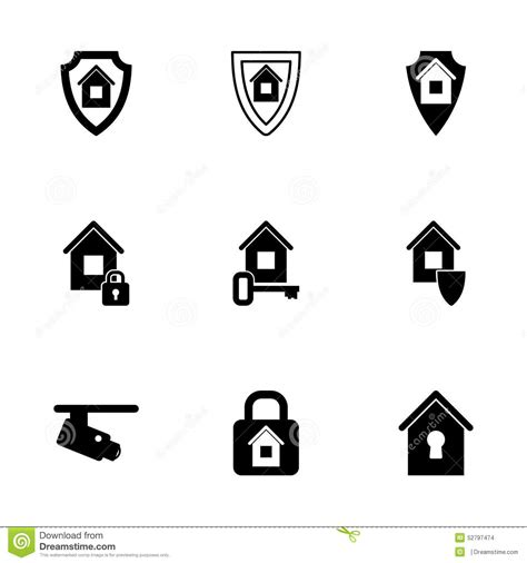 vector home security icon set stock vector image 52797474