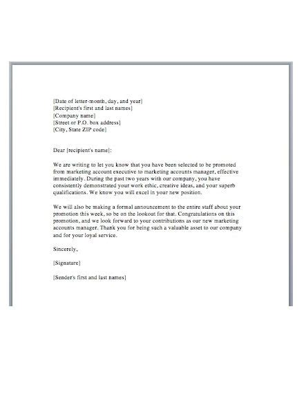 promotion letter templates examples word pages
