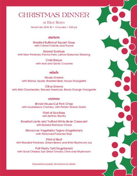 christmas eve dinner christmas menus