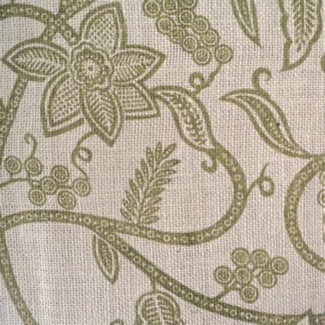 Patterned Hessian Fabric | sage green floral printed hessian fabric natural 100