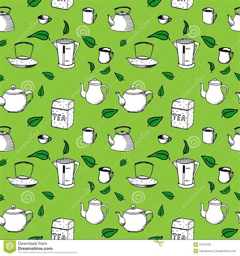 tea leaf pattern vector hand drawn vector seamless pattern tea cups and royalty