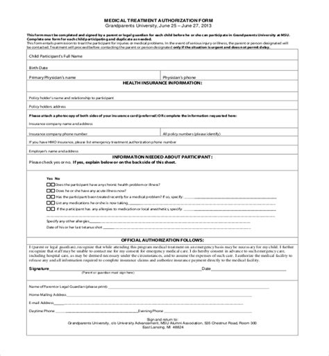 14 Sle Medical Authorization Forms Sle Forms Authorization Form For Grandparents Template