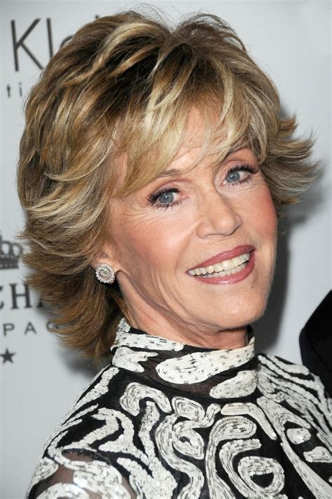jane fonda hair colo transitioning from longer to shorter hair like jane fonda