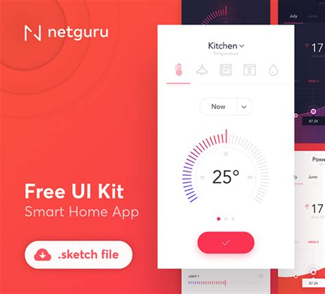 Smart Home App Design Kit For Sketch Freebiesui | smart home app design kit for sketch freebiesui