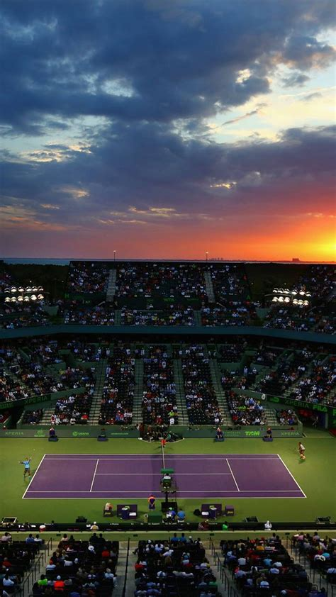 tennis court miami open sunset android wallpaper