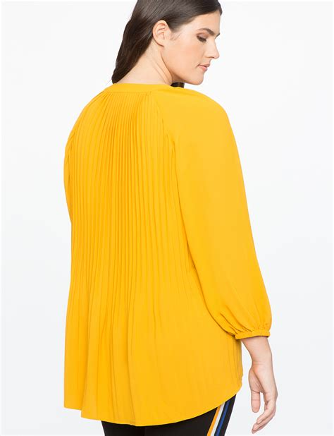 V Neck Pleated Top pleated v neck gathered sleeve top eloquii