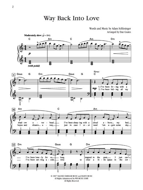 tutorial piano way back into love way back into love by grant bennett j w pepper sheet music