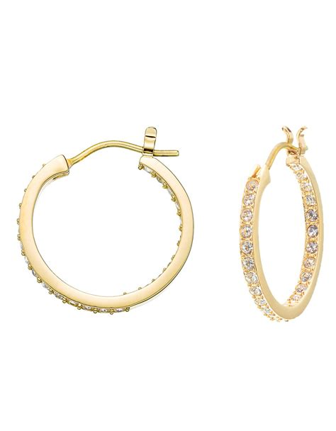 Allen Dons Gold Ribbed Hoop Earrings A La Hilary Duff by Swarovski Somerset Gold Plated Hoop Earrings In Gold Lyst