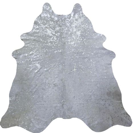 White And Silver Cowhide Rug Silver Metallic On White Large Cowhide