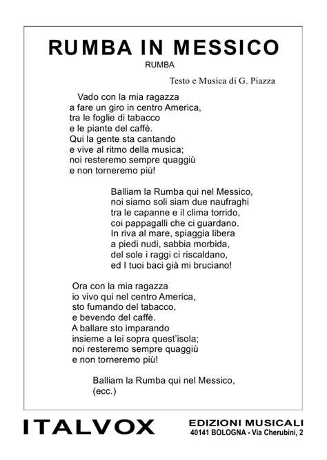 testo musicale mp3 spartito g piazza quot rumba in messico quot federico berti