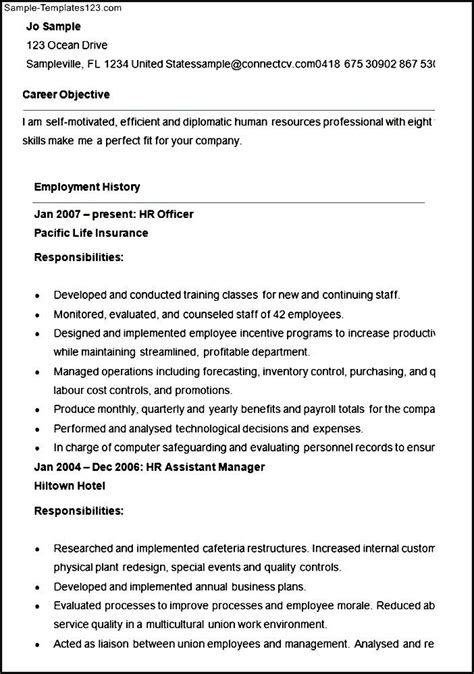 Resource Officer Sle Resume by Human Resources Officer Description Resume 28 Images Resume Human Resource Manager The Best