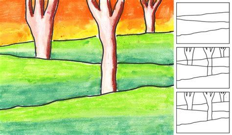 draw landscape  layers art projects  kids