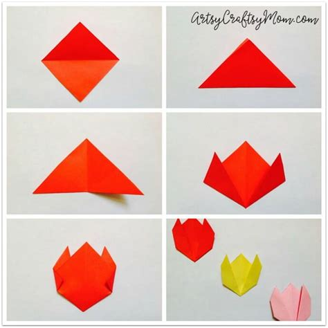 Easy Paper Folding Flowers - easy origami tulip craft for artsy craftsy