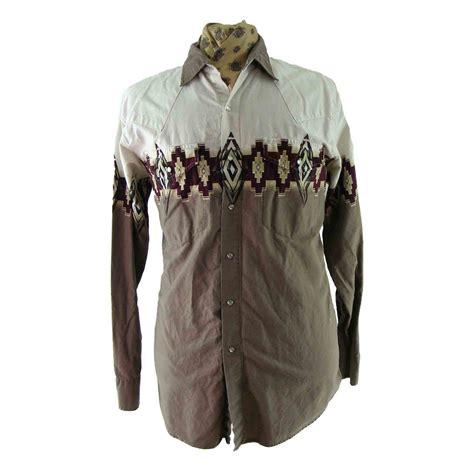 Panel Sleeve Patterned Shirt 90s south west patterned shirt blue 17 vintage fashion
