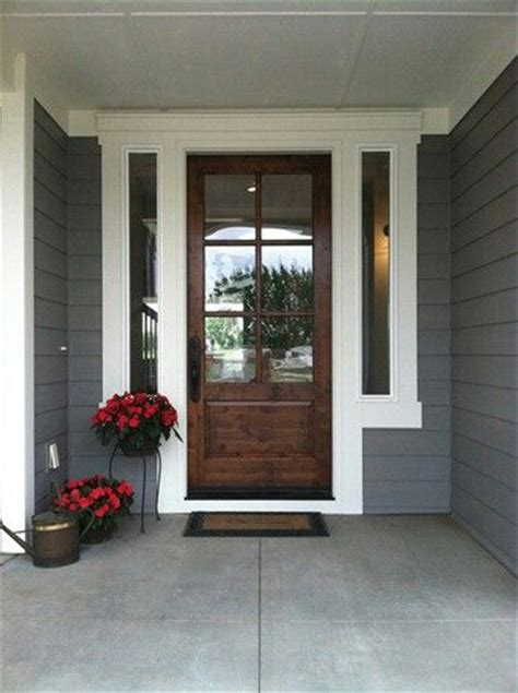 Exterior Front Door Colors Walnut Color Front Door With White Framing Wood Doors Pinterest Entry Ways Grey And The Doors