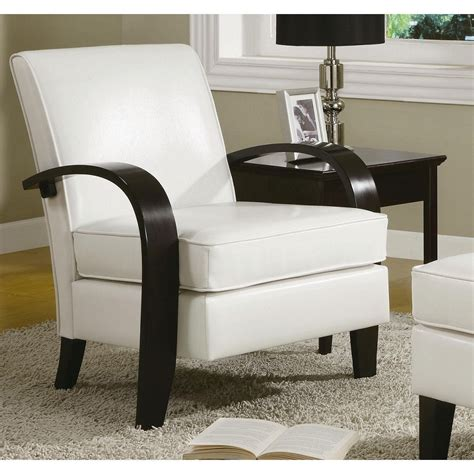 White Bonded Leather Accent Chair Modern Club Wood Arm Living Room Chairs Modern