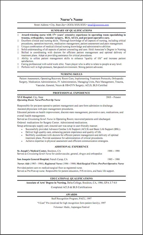 Nursing Resume Summary by Resume Summary Exle