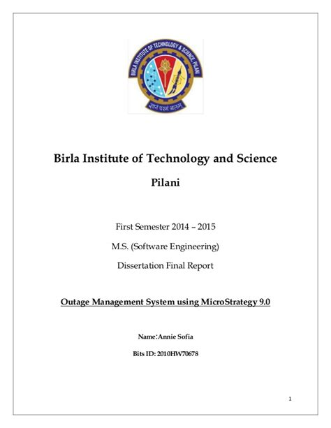 Mba Bits Pilani Wilp by Bits Ms Dissertation Report