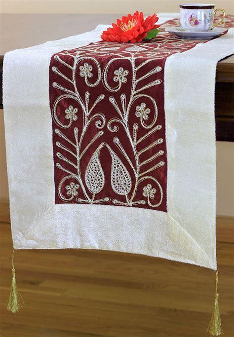 Velvet Table Runner by Velvet Floral Embroidered Table Runner Banarsi Designs