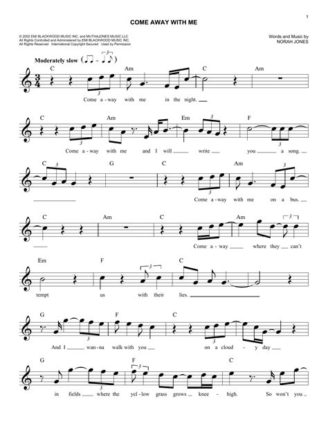 Come Away With Me To A Place Lyrics Come Away With Me Chords By Norah Jones Melody Line