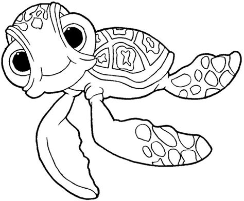 simple turtle coloring page how to draw squirt from disney s finding nemo drawing