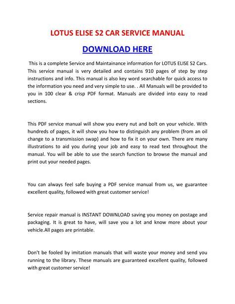 auto repair manual free download 2011 lotus elise instrument cluster lotus elise s2 car service manual by sheffieldbronsonipqgz issuu