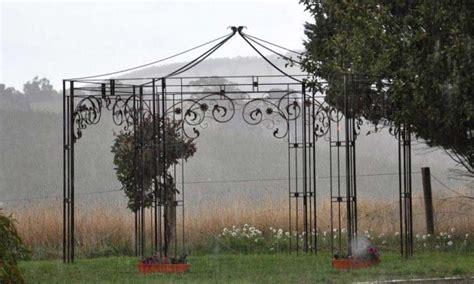 lovely wrought iron circular gazebo garden landscape