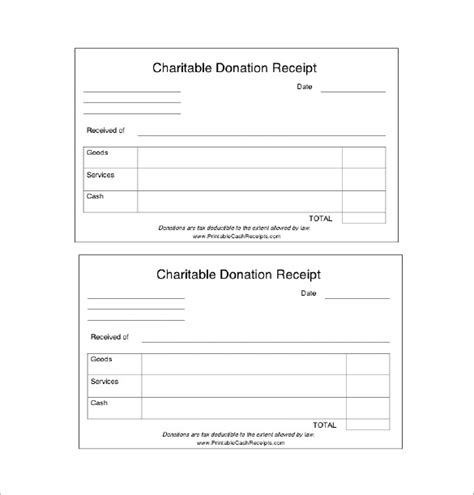 donation receipt template 18 free sle exle