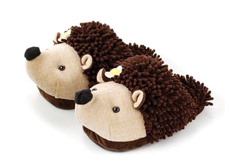 animal slippers youth fuzzy friends hedgehog plush animal slippers