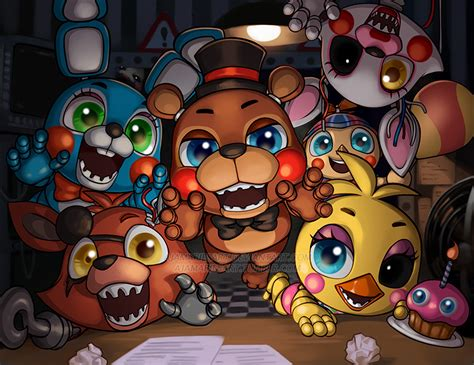 imagenes kawaii five nights at freddy s five nights with chibis by ajamariesart on deviantart