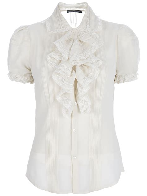 Lace Ruffled Blouse white ruffle blouses leopard trim blouse
