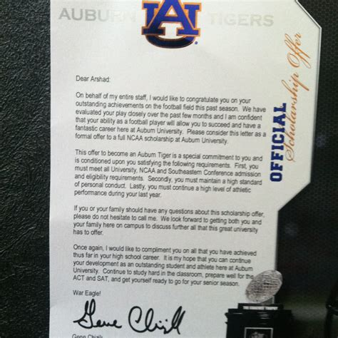 Basketball Scholarship Letter This Is What An Official Auburn Offer Letter Looks Like