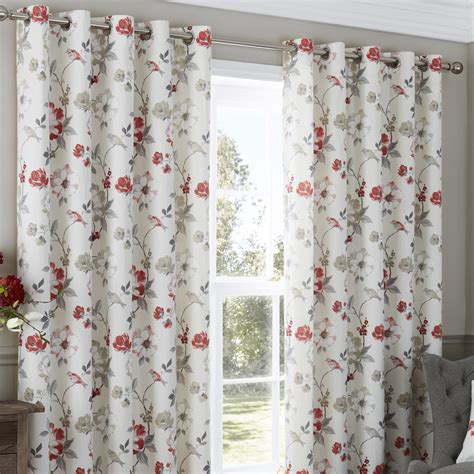 red floral drapes eyelet curtains anya floral red eyelet curtains