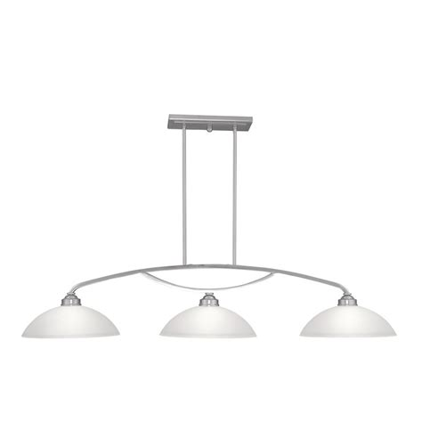 Brushed Nickel Pendant Lighting Kitchen Shop Livex Lighting Somerset 50 In W 3 Light Brushed Nickel Kitchen Island Light With White