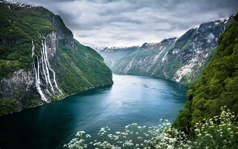 fjord wallpaper geiranger norway fjord waterfall cliff clouds