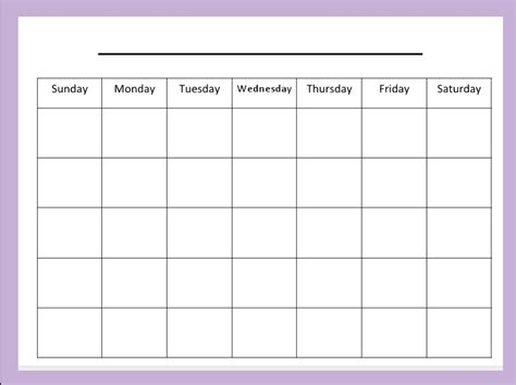 activity calendar template blank activity calendar printable calendar template 2018