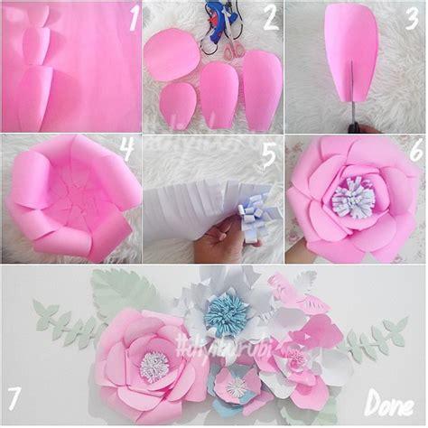 Cara Membuat Bunga Dari Kertas Untuk Hiasan | ide dan cara membuat hiasan dinding berbentuk bunga dari