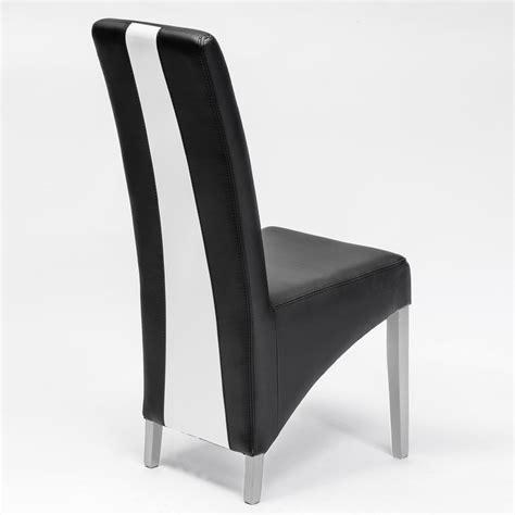 chaise moderne noir et blanc en pu erica lot de 2