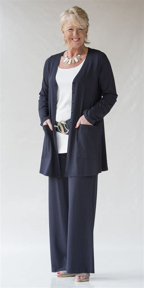 wardrobe of 60 yr od women yoek navy jersey jacket trouser and cream vest для