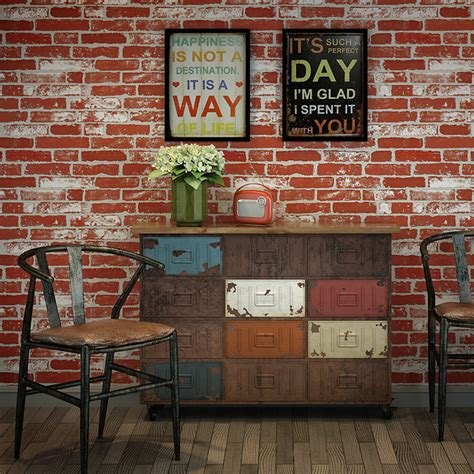 Chinese New Year Home Decoration by Haokhome Modern Faux Brick Wallpaper Rust Red White 3d
