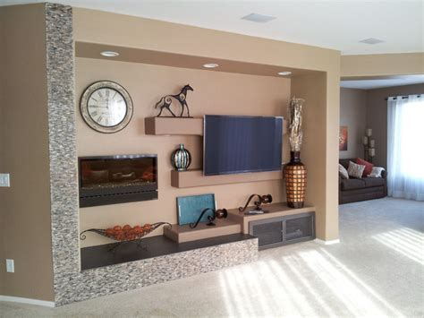 Living Room With Electric Fireplace by Media Wall W Electric Fireplace Modern Living Room