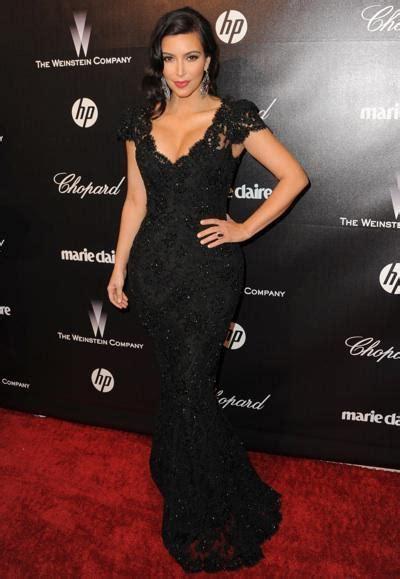 Kim Kardashian Mermaid Black Lace Celebrity Dresses