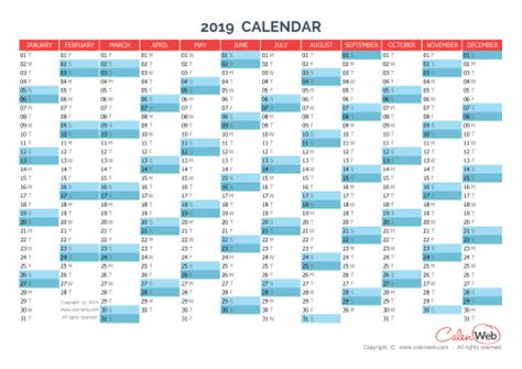 Calendrier Can 2015 Excel Yearly Calendar Year 2019 Yearly Horizontal Planning