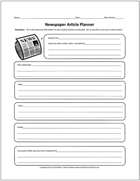 newspaper templates for kids biography book report